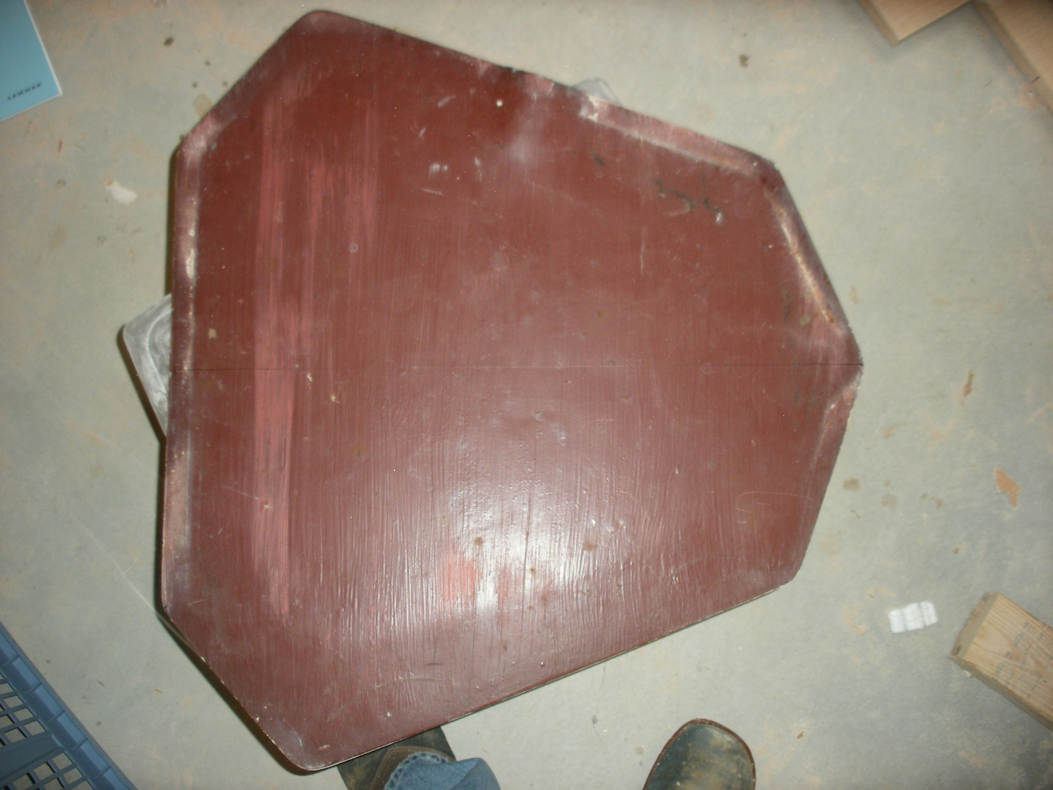 Shows the bottom of the hatch before the big cut