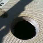 Hawse pipe epoxy filled