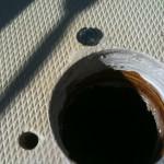 Motor mount hole. Holes epoxy filled