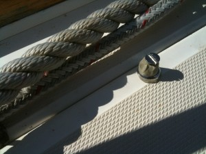 Stainless bolts with butyl tape as a sealer