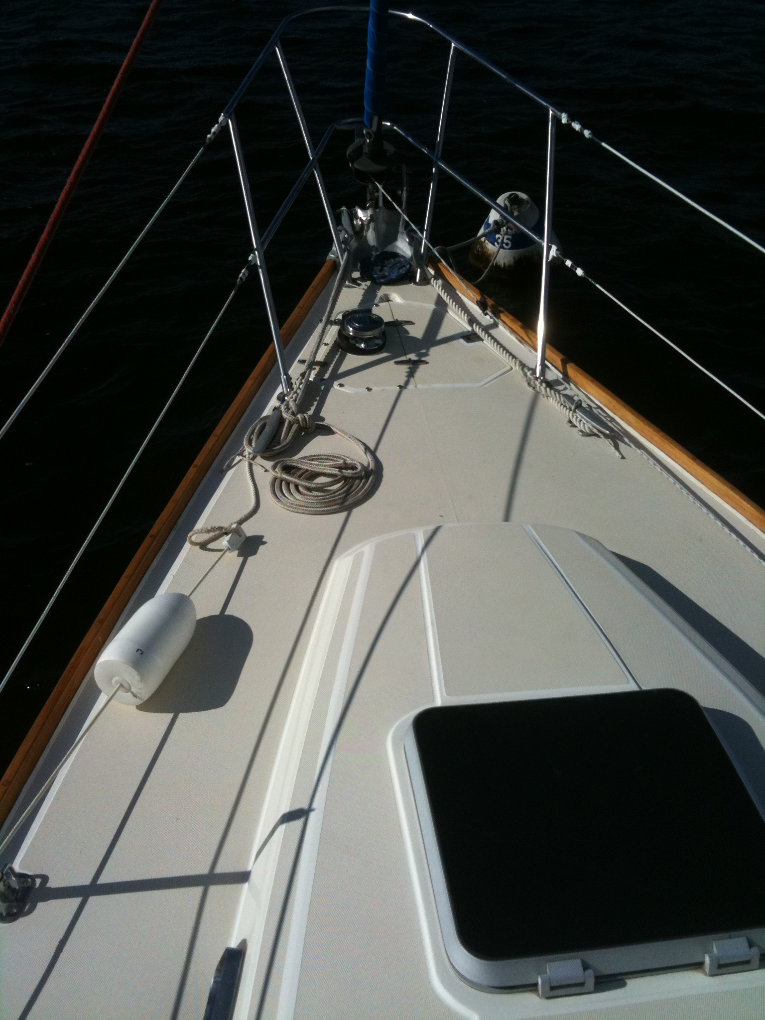 1/3 of boat shown.  Photo taken at mast