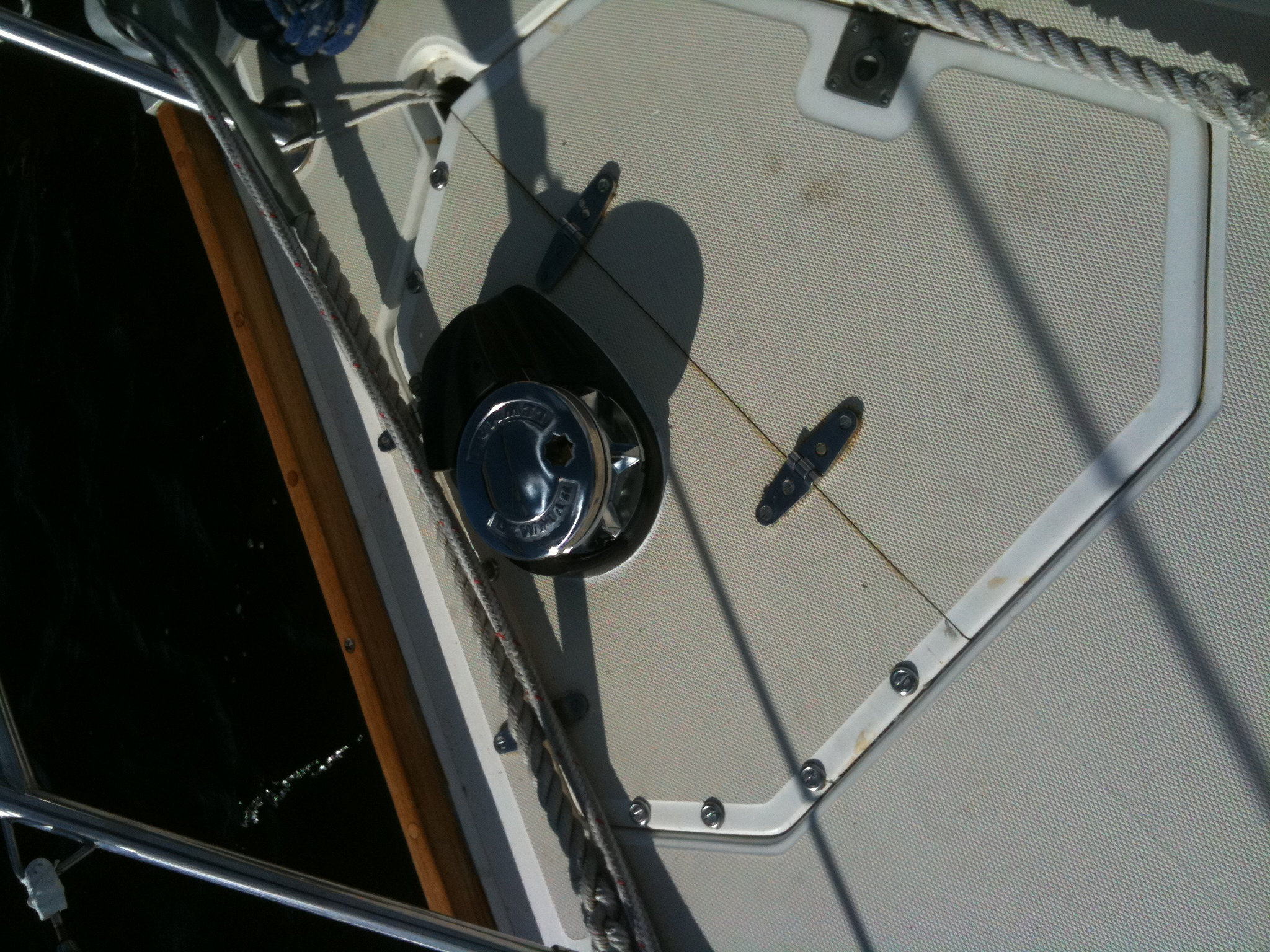 Close-up of bow.  Shows the bolts holding the lid down