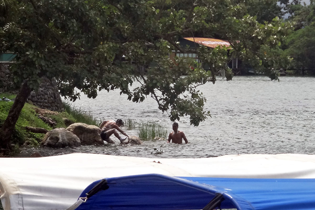 bathing in Rio Dulce