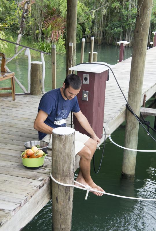 Matt washing veggies