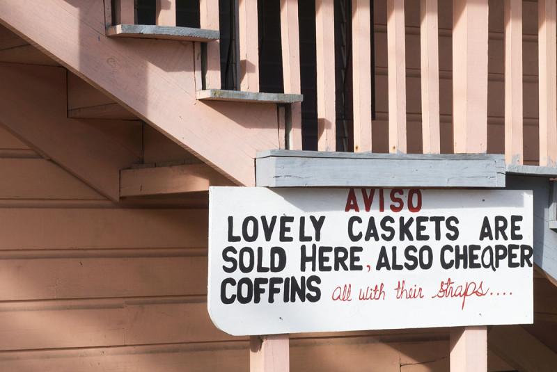Casket sign, Utila