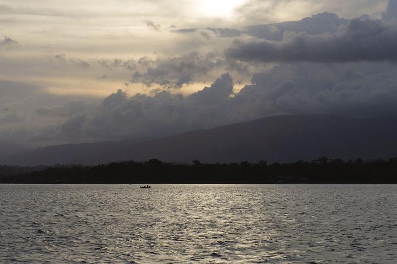 sun setting on Lake Isabella