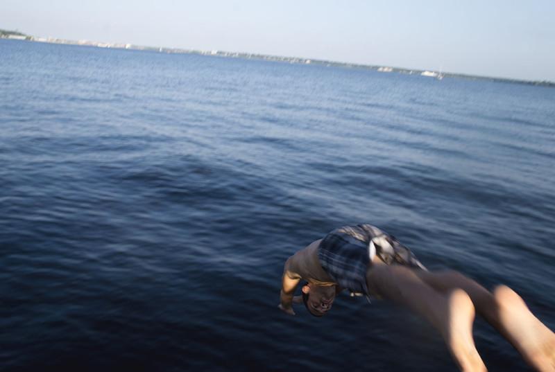 Matt diving in Muskegon Lake