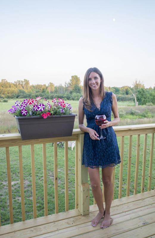 enjoying wine at sunset