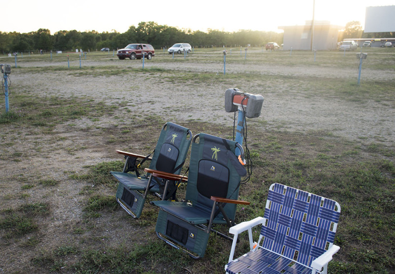 folding chairs at drive-in