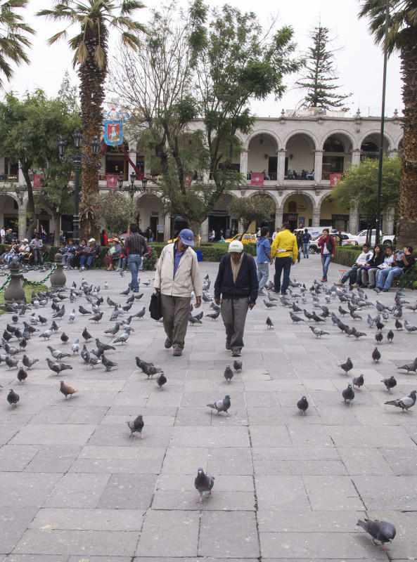 men walking Plaza de Armas Arequipa