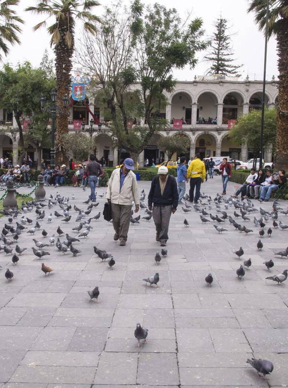men walking Plaza de Armas Arequipa