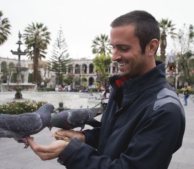 Matt holding pigeons
