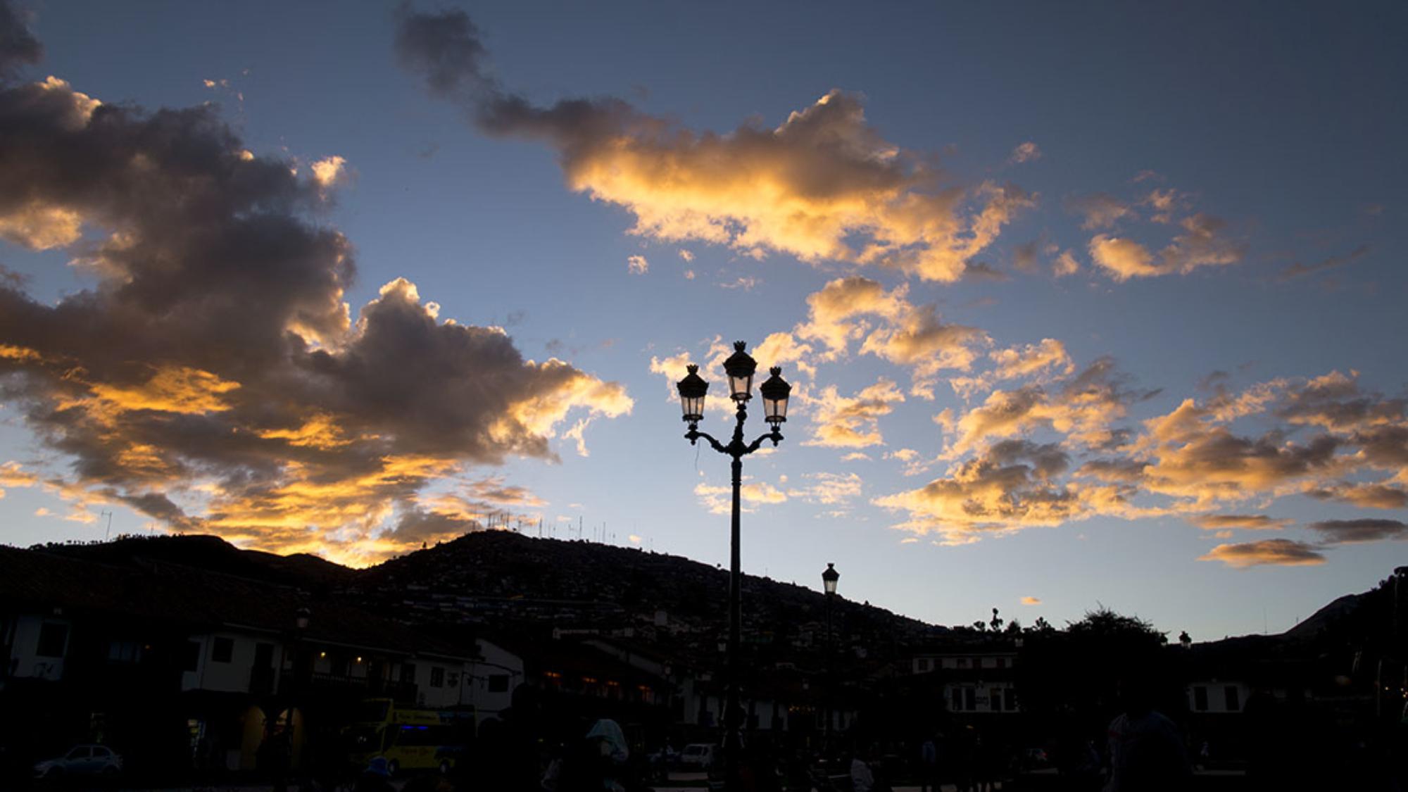 sunset in the Plaza de Armas Cusco