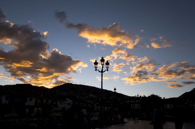 sunset in the Plaza de Armas Cusco