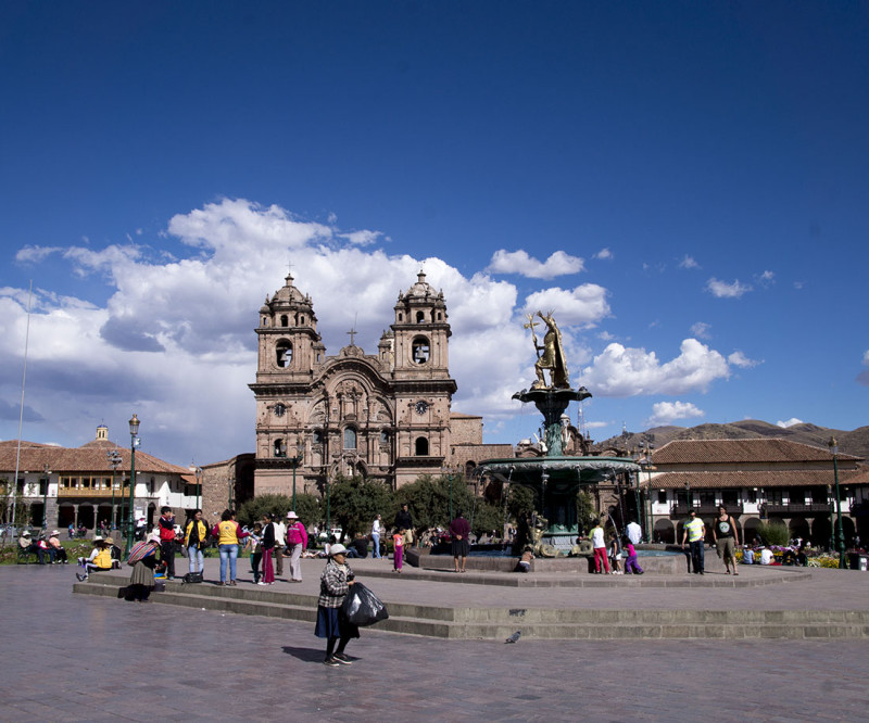 Church and fountain in Cusco