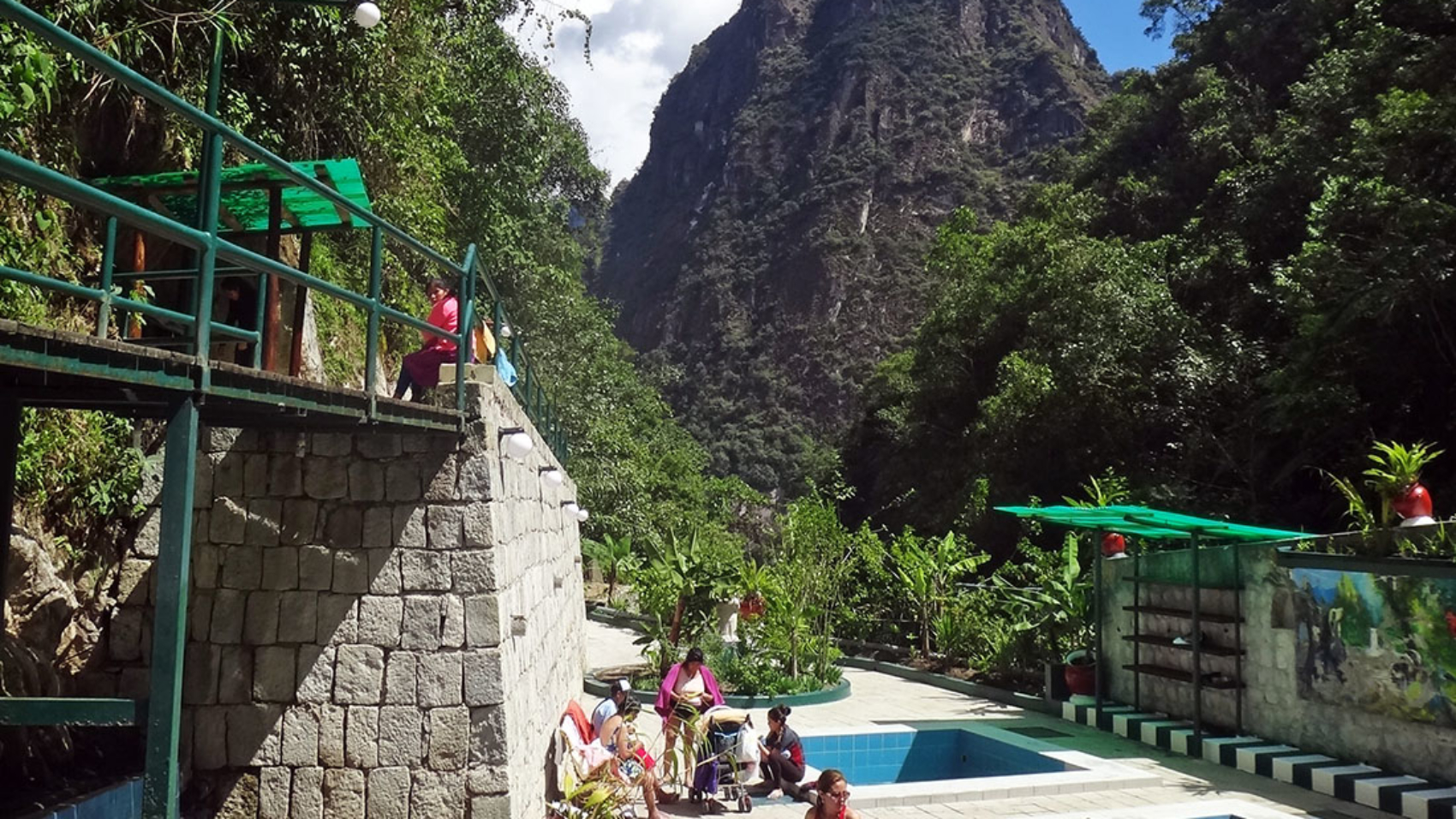 view of Huayna Picchu from hot springs, Aguas Calientes