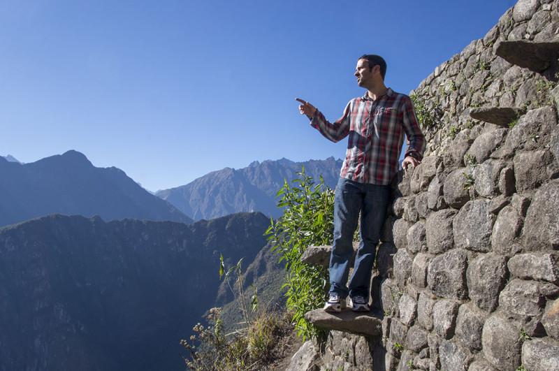 Matt pointing at mountains