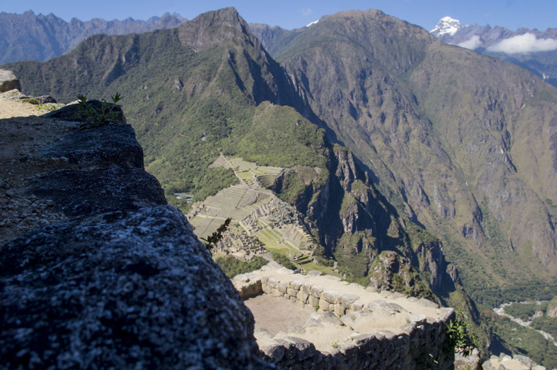 looking from stone house down to Machu Picchu