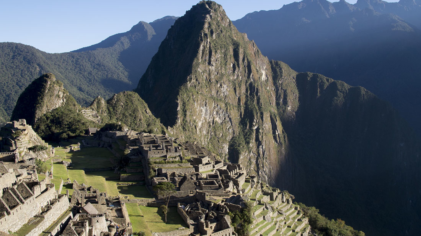overlooking Machu Picchu at sunrise
