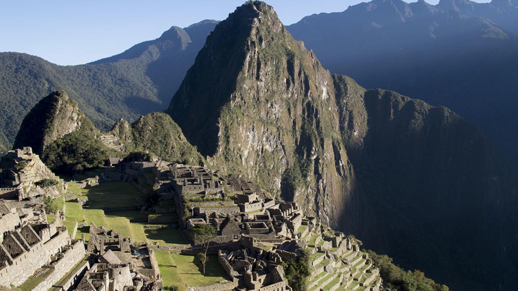 overlooking Machu Picchu at sunrise