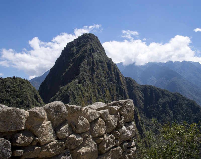 stone wall in front of Huayna Picchu