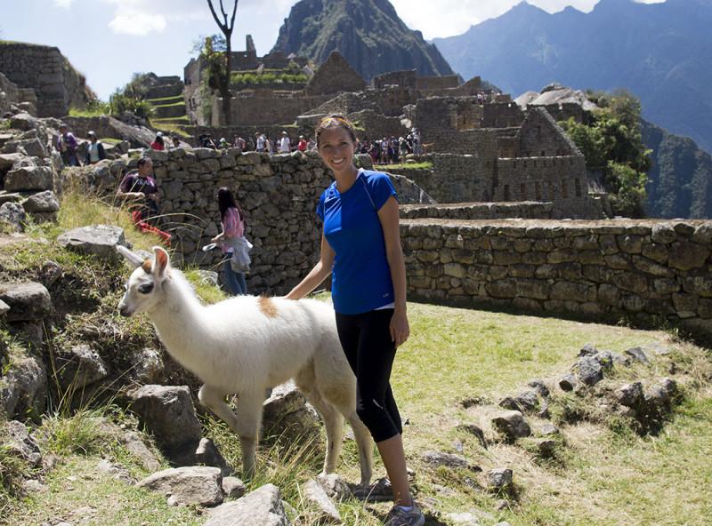 Jessica petting llama