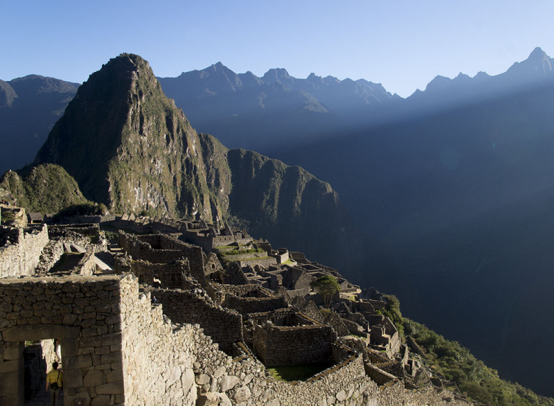 overlooking Machu Picchu at sunrise (horizontal)