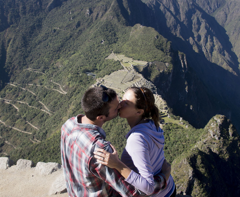 kissing in front of Machu Picchu