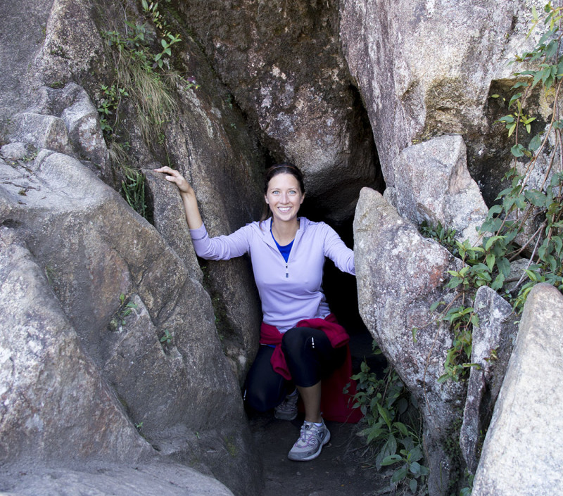 entering the cave on Huayna Picchu