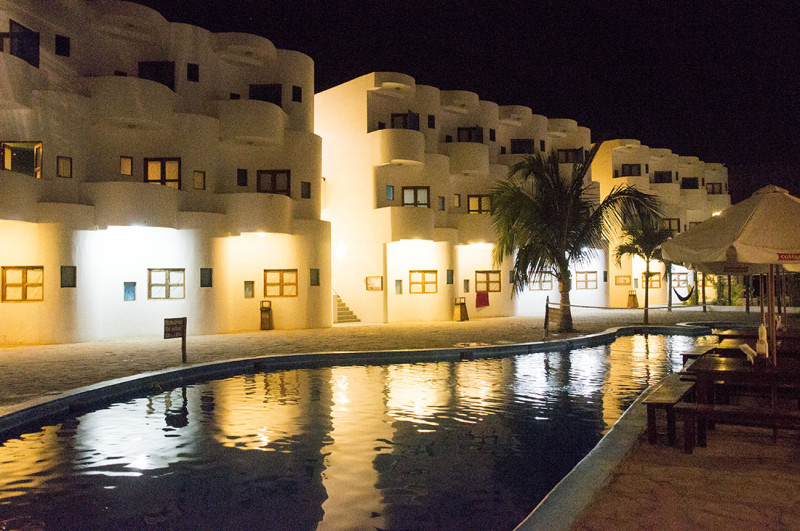 night shot of pool at Loki del Mar Mancora
