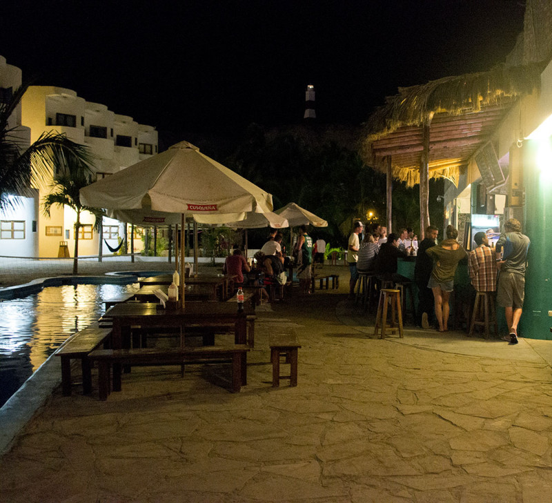 night shot of bar, Loki del Mar, Mancora