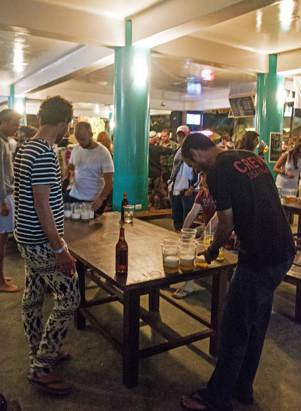 Matt racking for beer pong, Loki del Mar, Mancora