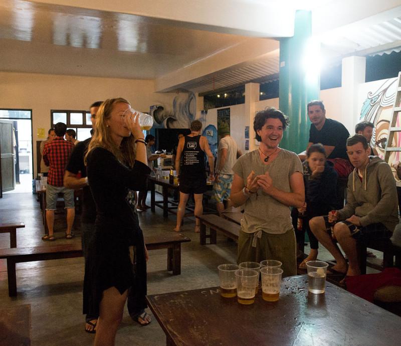 Hannah and Kyle playing beer pong, Loki del Mar, Mancora