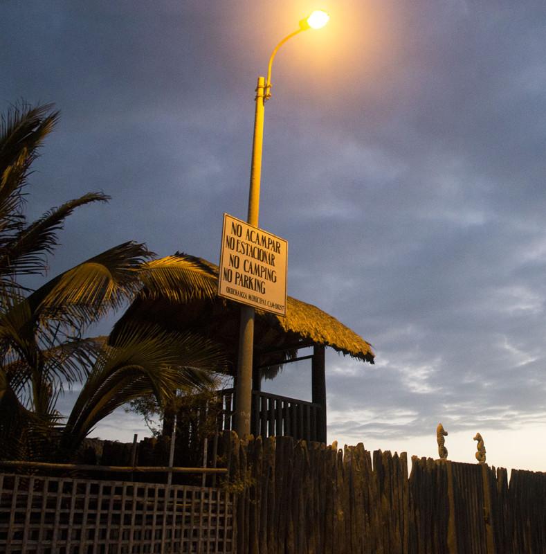 no camping sign on beach, Mancora Peru