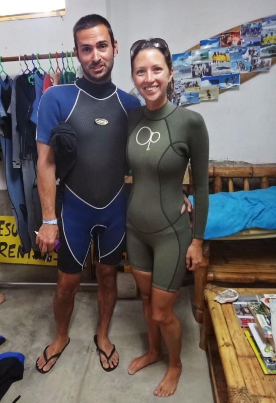 Matt & Jessica in wetsuits