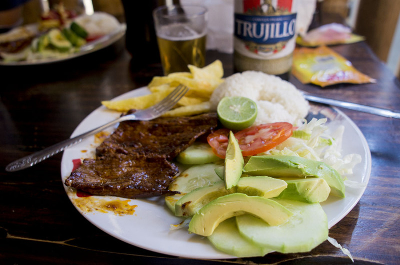 lunch in Mancora Peru
