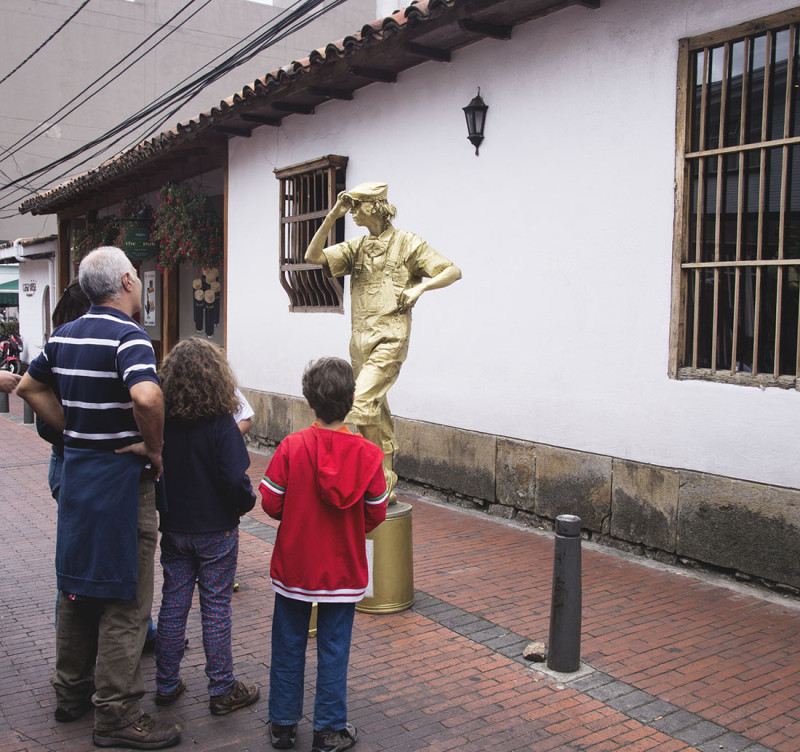living statue, Usaquen, Bogota, Colombia