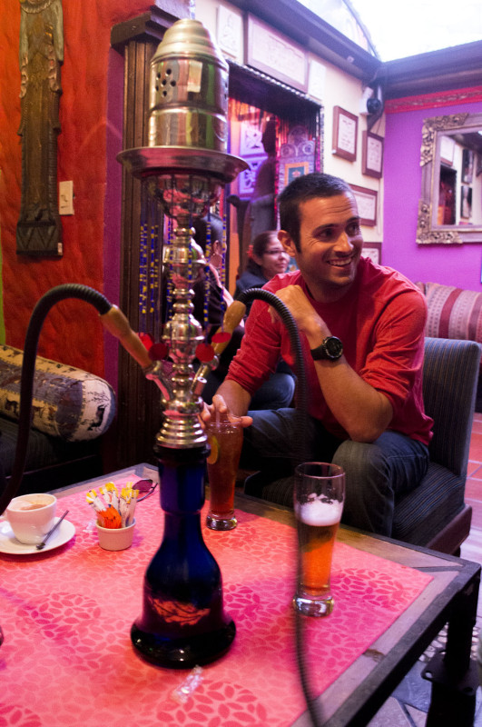 Matt with hookah, Kathmandu, Bogota, Colombia