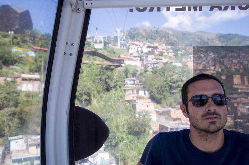 Matt on metro cable Medellin