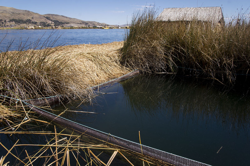 fishing pond in Los Uros Lake Titicaca