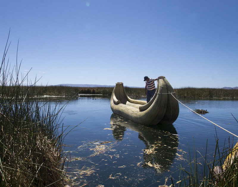 reed boat floating in Lake Titicaca