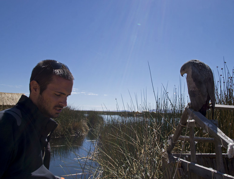 Matt & an eagle on Los Uros