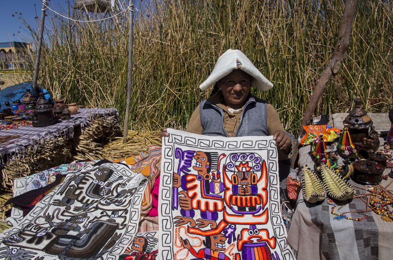 Uros native selling goods