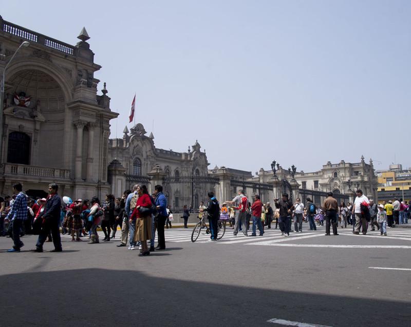 people watching in Plaza de Armas, Lima
