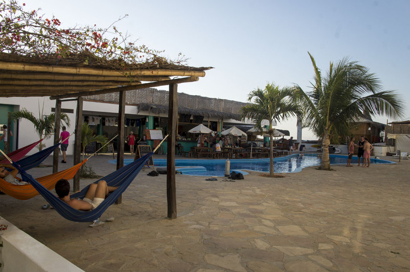 hammocks and pool, Loki del Mar, Mancora Peru