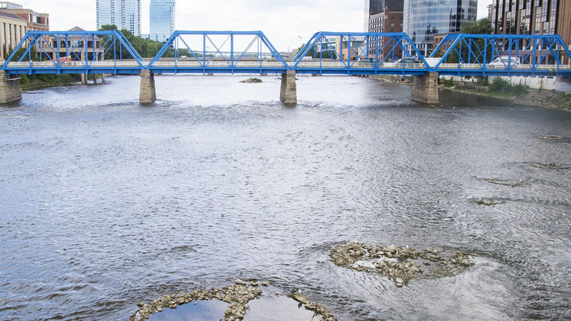 peace sign in Grand River, Grand Rapids Michigan