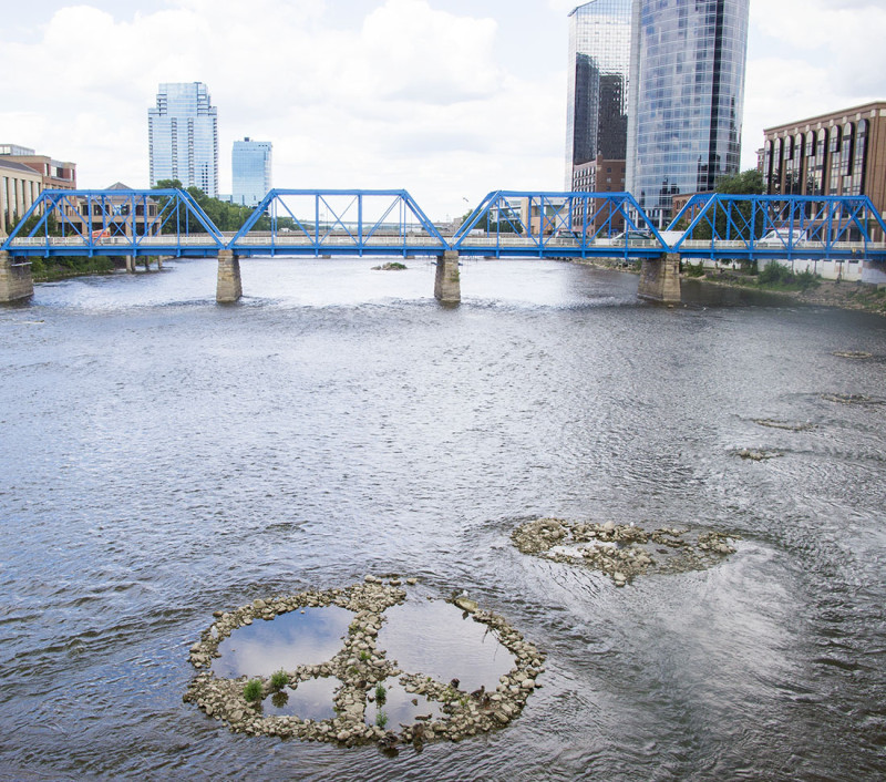 peace sign in Grand River, Grand Rapids Michigan