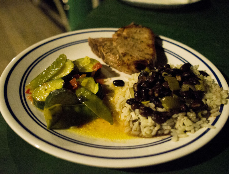 pork chops and rice & beans