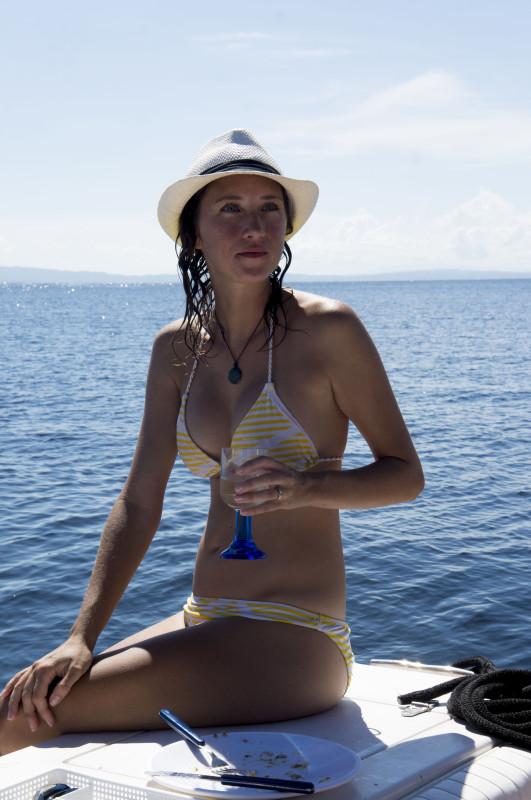 drinking wine on Hula Girl