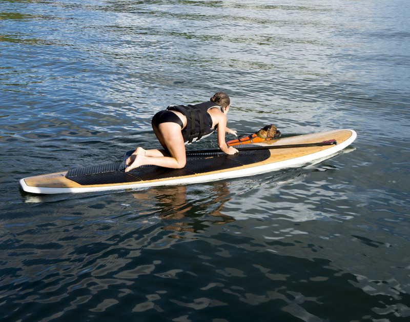 Maria and Nala paddleboarding